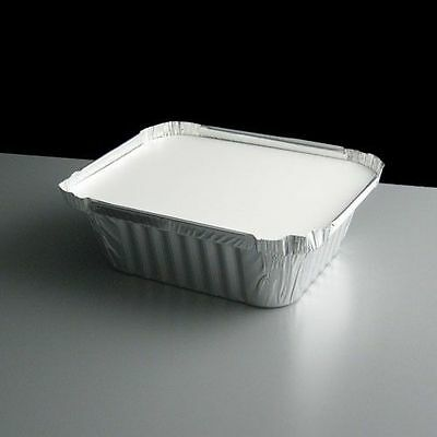 100 x Aluminium Silver Foil Containers & Lids Size 2 Trays Takeaway Chinese