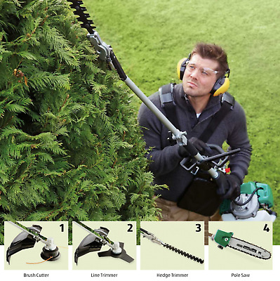 Garden 4 in 1 Multi Garden Tool - Chainsaw Hedge Trimmer Strimmer Brush Cutter
