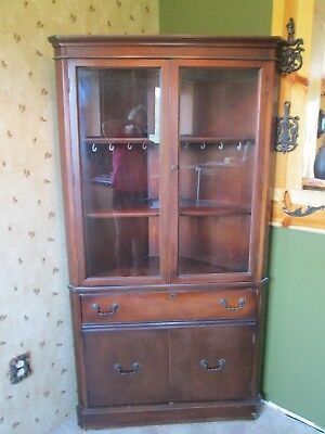 Antique cherry corner china cabinet