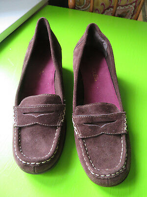 c8b3e2d5e5b Aerosoles Women s Brown Suede Leather Penny Loafer Heels Size 6.5 Very Nice