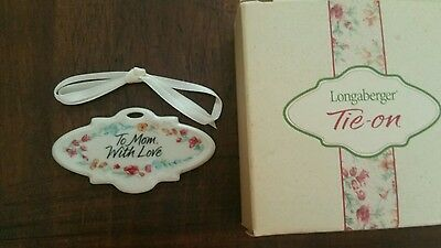 Longaberger 2001 Mother's Day To Mom With Love Tie-on NIB Ceramic