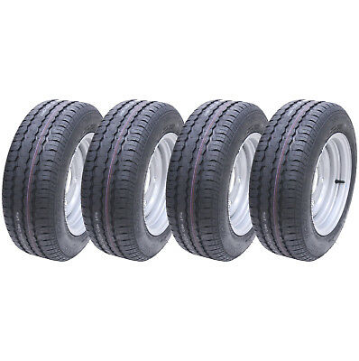 4 - 185/60 R12C 5 stud 6.5 PCD trailer wheels and tyre Brian james Ifor williams