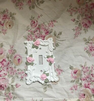 OOAK Antique Brass Shabby Chic Roses Single Toggle Switch Plate Cover #1
