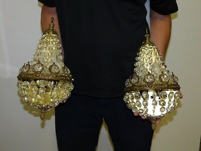 Pair ANTIQUE Vintage Brass French Crystal Beaded Basket Cake 2-Lite Wall Sconces