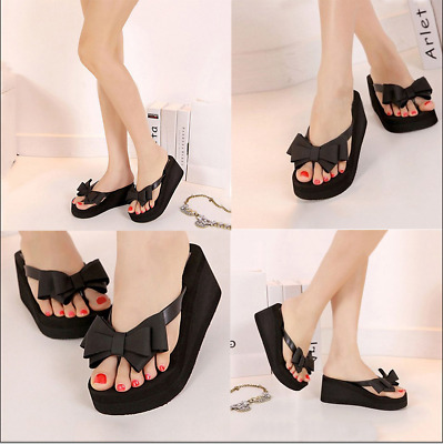 Women Wedge Platform Sandals Bowknot Slipppers Casual Beach Flip Flop Shoes Size