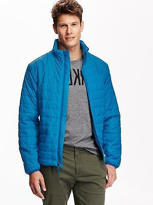 NEW Men's Lightweight Packable Quilted Puffer Jacket Old Navy Barn Jacket Blue M