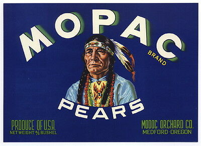 MOPAC Vintage Medford Oregon Pear Crate Label Indian, *AN ORIGINAL FRUIT LABEL*