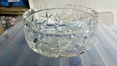 "8"" Bohemia? Heavy Superb Quality Cut Glass Crystal Fruit/salad/serving Bowl"