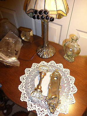 Vintage Victorian Art Deco/Nouveau brass/bronze door plate thumb turn - Set #22