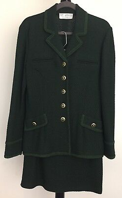 St. John Collection by Marie Gray size 8 knit suit dark green skirt and jacket