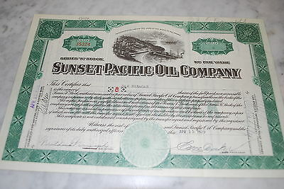 Stock Certificate - SUNSET PACIFIC OIL COMPANY – DELAWARE 1929