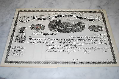 Stock Certificate - Western Railway Construction Company – Iowa 1870's … unused