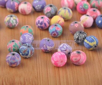 50pcs 8mm Round Clay Polymer Fimo Charms Loose Cratf DIY Findings Beads Mixed