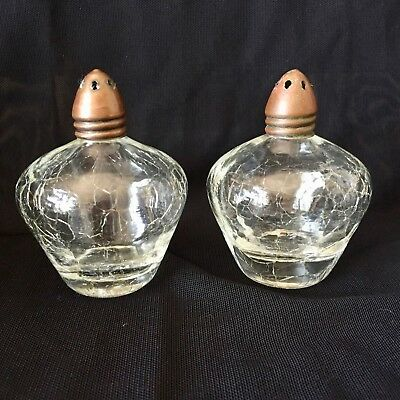 CRACKLE GLASS Copper Topped Hand Crafted SALT & PEPPER SHAKERS