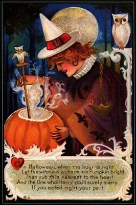 Witch Cooking Pumpkin Owl Halloween Vintage Poster Repro