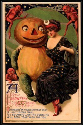 Girl Pumpkin Red Devil Happy Halloween Vintage Poster Repro