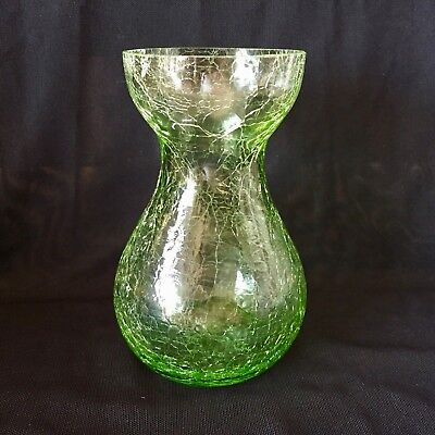 "CRACKLE GLASS Green 5.5"" Hand Blown BULB FORCING VASE"