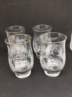 4 Arbys Christmas Holiday Winter White Tumbler Cooler Glasses  - W/ Gold Trim