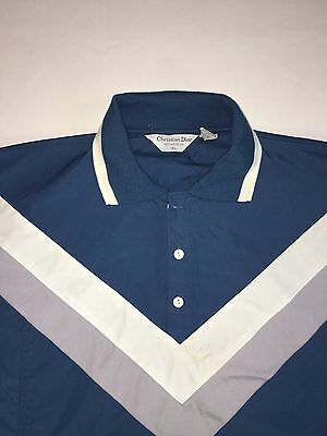Christian Dior Mens Short Sleeve Green Turquoise Teal Polo Top XL Golf Vintage