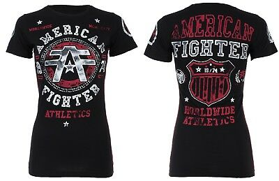 AMERICAN FIGHTER Womens T-Shirt DAVENPAINT Athletic BLACK Biker Gym MMA UFC $40
