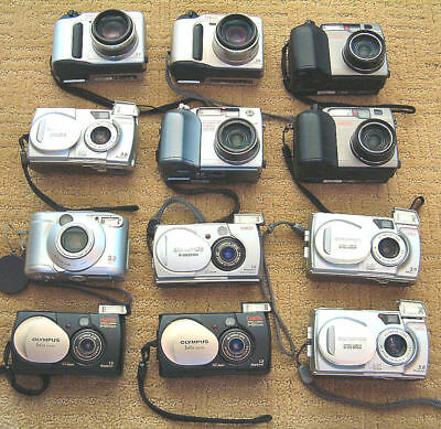 Lot of 12 Olympus & Toshiba Working Digital Cameras Plus Accessories