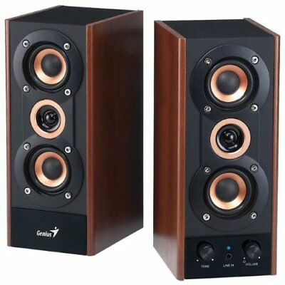 Genius 3-Way Hi-Fi Wood Speakers for PC, MP3 players, and Tablets SP-HF800A