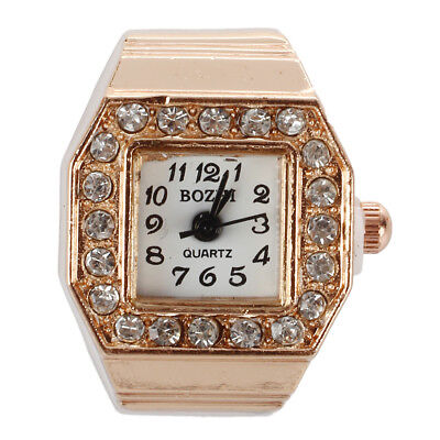 Square Dial Crystal Decor Elastic Finger Ring Watch Copper Tone for R4U8