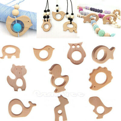Handmade Natural Wooden Animal Shape Baby Teether Teething Toy Baby Shower Gift
