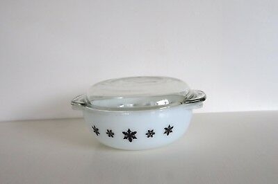 Vintage Pyrex Casserole Dish with Lid White with Black Snowflake