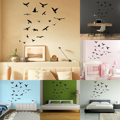 Removable Flock Of Birds Wall Decal Stickers Art Mural Nature Wall Decor DIY