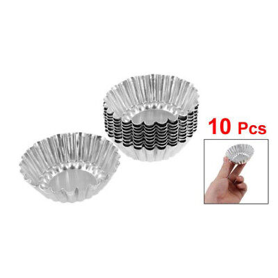 10 X Silver Tone Aluminum Cupcake Cookie Pudding Egg Tart Mold Mould Makers KL