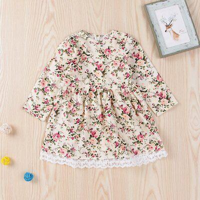 Toddler Kids Baby Girls Long Sleeve Lace Floral Dress Party Pageant Tutu Dresses