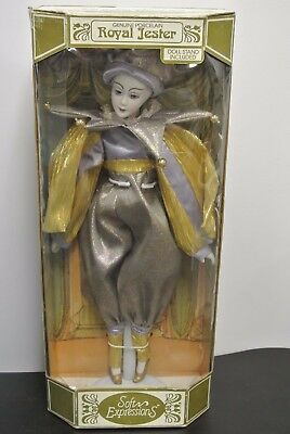 SOFT EXPRESSIONS GENUINE PORCELAIN 'ROYAL JESTER' DOLL COLLECTIBLE w/ STAND NIB