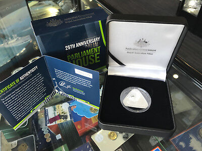 RAM 2013 Triangular $5 25th Anniversary Parliament House .999 Silver Proof Coin