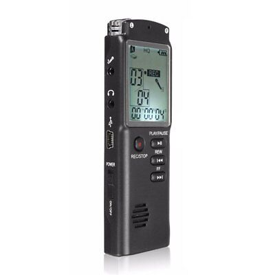 8GB Rechargeable USB LCD Digital SPY Audio Voice Recorder Dictaphone MP3 Pl U6G2