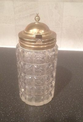 Vintage Glass And Brass Hinged Lid Sugar  Or Salt Cruet