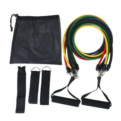 Set 11 pcs fitness Exercise Latex Tube Resistance Bands PF