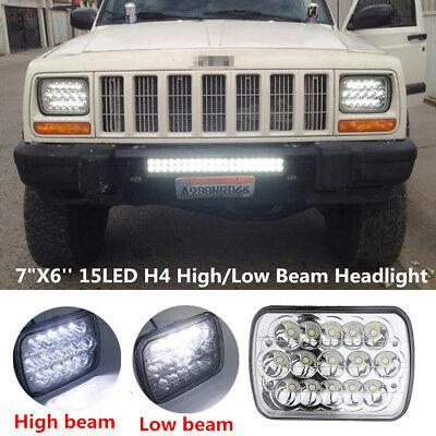 "7""x6'' 15LED HID Bulb Light H4 Crystal Clear Sealed Car Van Hi/Lo Beam Headlight"