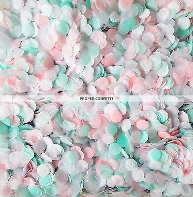 Pink Mint Green White Biodegradable Circle Confetti Bulk 50-100 Wedding Guests
