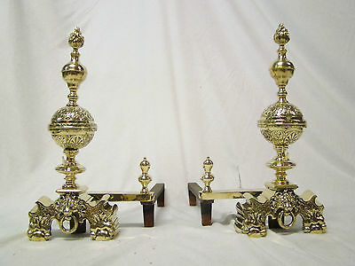 Rare Pair French Antique Brass Grandry Bronze Louis XVI Andirons Chenets 18th.C