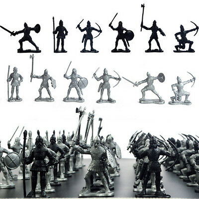 60PCS Medieval Knights Warriors Kids Toy Soldiers Figure Models Black Silver Set