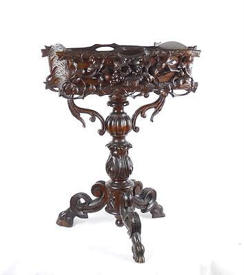19th C Black Forest Carved & Stained Deal Tripod Jardiniere Stand