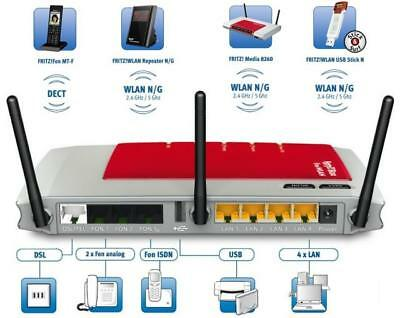 AVM FRITZ Box 7270 v3 USB WiFi N 4-LAN ISDN DECT Repeater und WLAN N Repeater