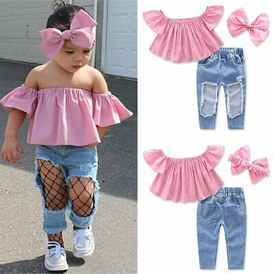 3PCS Toddler Kids Baby Girls T-shirt Tops+Hole Jeans Pants Clothes Outfits Set