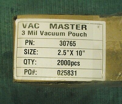 """Vac Master 2.5 x 10"""" Chamber Vacuum Packaging Pouches Bags 3 Mil 30765 about1000"""