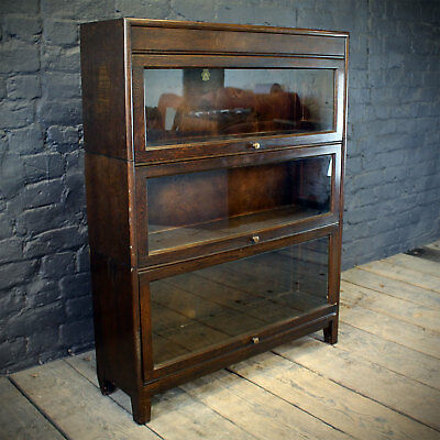 High Quality 1940s Oak Glazed Stacking Cabinets