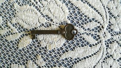 FRANKLIN antique BARREL KEY ROLL TOP DESK CABINET DRAWER KEY  BRASS
