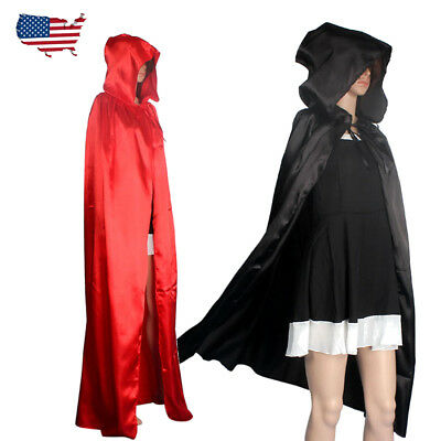 Black Red Stain Hooded Halloween Fancy Dress Full Length Cape Cloak Coat Wicca