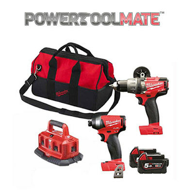Milwaukee M18FPP2A-502X FUEL 18v Hammer and Impact Drill 2 X 5ah ,6 port charger