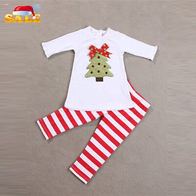 Kids Infant Girls Long Sleeve Tops + Striped Pants Outfits Christmas Clothes Set